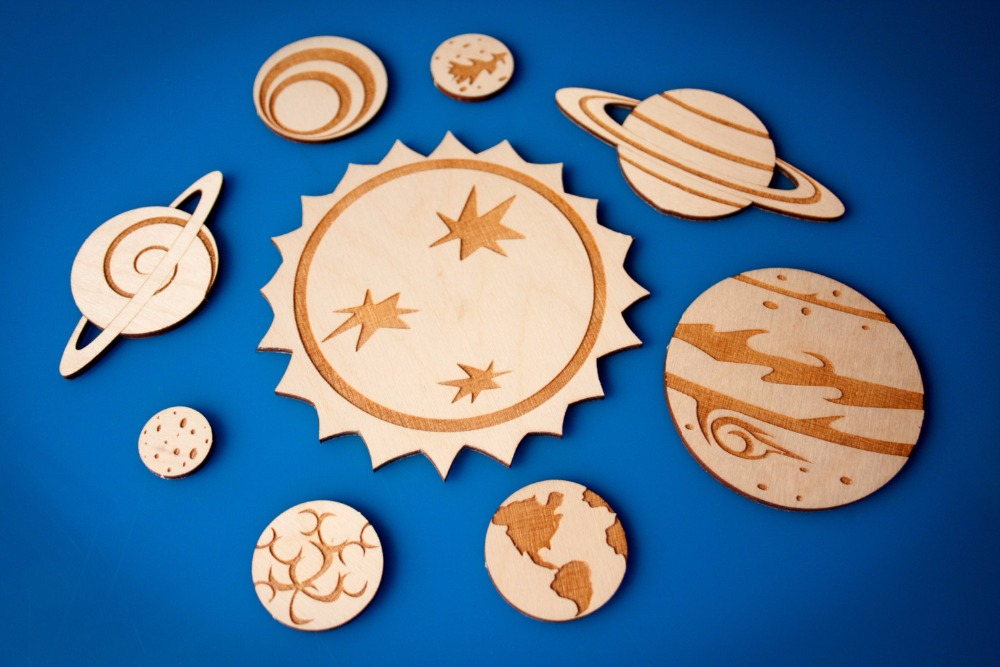 Solar System magnet set, planets fridge magnets kids wooden toys, science classroom decor planet decorations, elementary school
