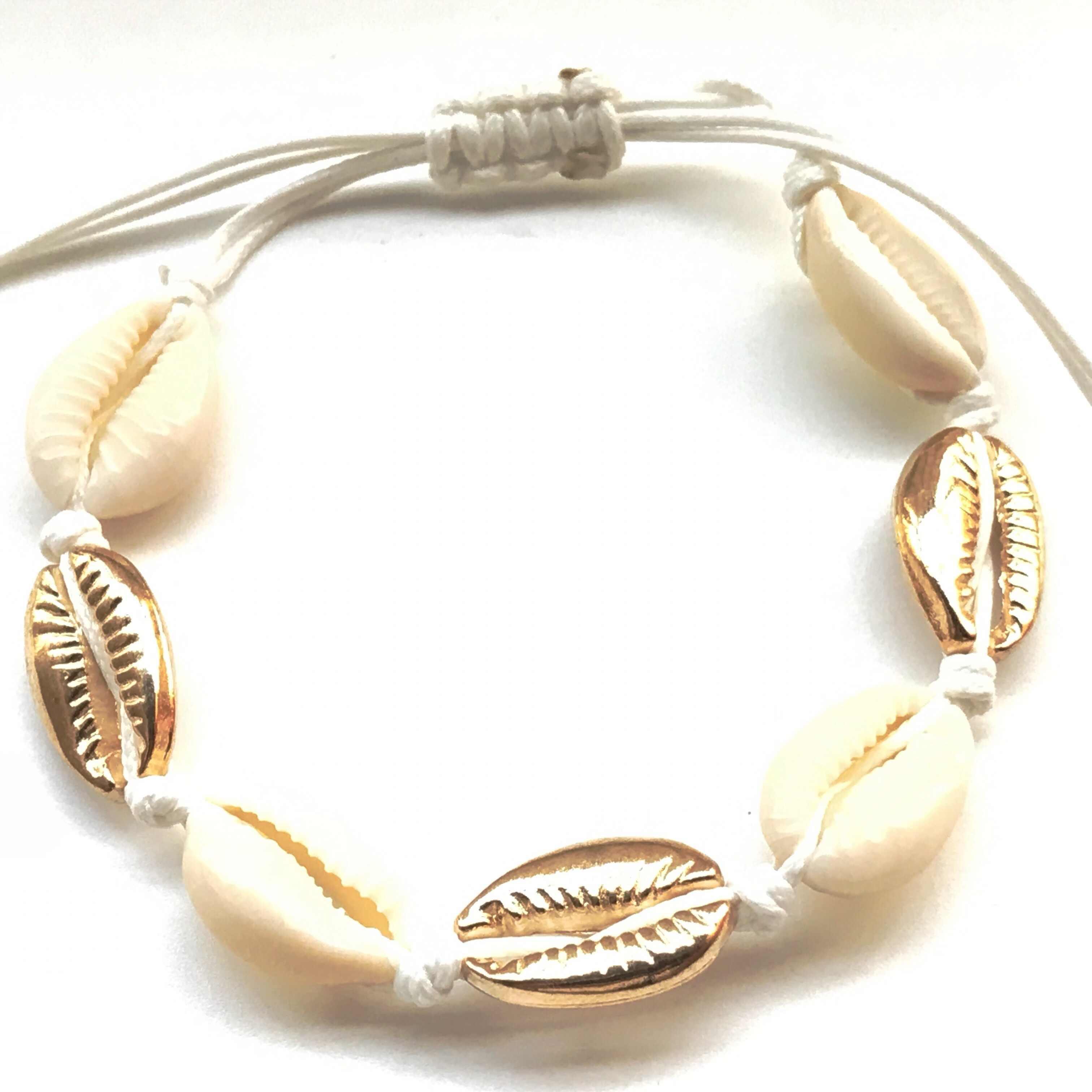 Hot Sale Handmade Natural Seashell Hand Knit Bracelet Shells Bracelets Women Accessories Beaded Strand Bracelet