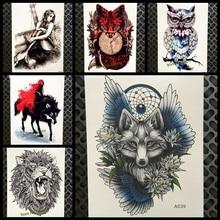 HOT Style Dreamcatcher Wolf Temporary Tattoo Stickers For Women Body ARt Arm Flash Tatoo 21x15CM Flower Wings Waterproof Tattoo