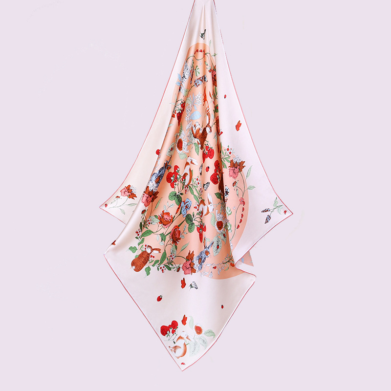 Floral & Rabbit Print 100% Silk   Scarf     Wraps   Shawl for Women Perfect Gifts Fabulous Design   Scarves   35