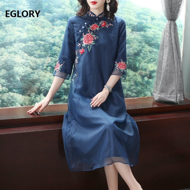 High Quality Qipao Dress 2019 Spring Summer Plus Size Clothing Women Organza Embroidery 3/4 Sleeve Straight Elegant Dress Blue