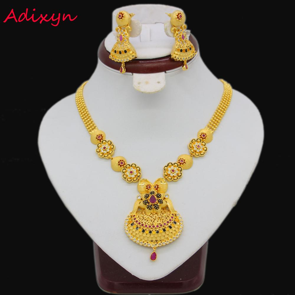 Adixyn Fancy Color Necklace&Earrings Jewelry Set for Women Gold Color Crystal Jewelry African/Ethiopian/India Wedding Gifts цена