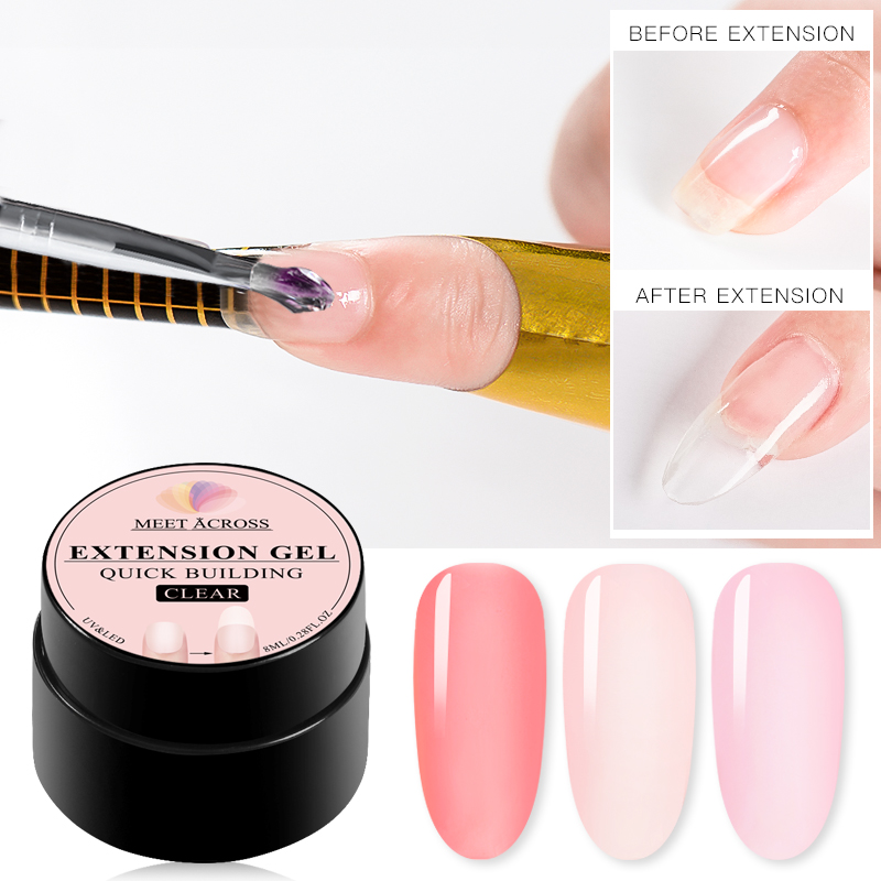 MEET ACROSS Poly Quick Extension UV Gel Set Clear White Pink Builder Nail Gel Polish for Nail Extensions Nail Forms Acrylic Tips