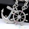 Estilo Navy Timón Ancla pareja Amor Rhinestone Anillo de la Cadena Dominante de la Aleación Llavero 2MYP 4PL3