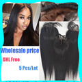 5 Pcs/Lot Wholesale Price Virgin Human Lace Closure Bleached Knots 3/Middle/Free Part 7A 4*4 Silky Straight Unprocessed Closure