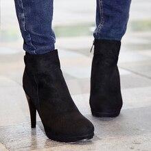 2016 Tamaño Grande mujer warm botines Sexy Botas de Tacón Fino de Moda Pure color del dedo del pie Puntiagudo Zapatos de Las Mujeres