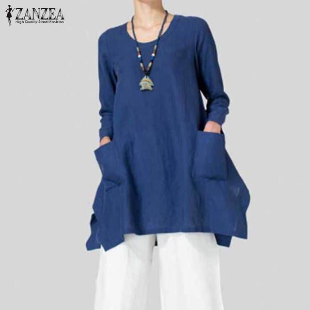 2018 ZANZEA Women Blouse Autumn Vintage Cotton Shirts Long Sleeve O Neck Asymmetrical Split Hem Long Blusas Plus Size Tops