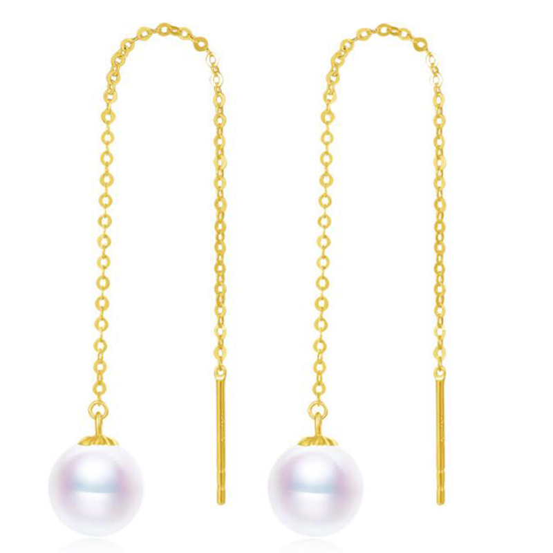 Sinya Au750 18k gold dangle drop earring with 7 9 mm Natural Round high luster pearls