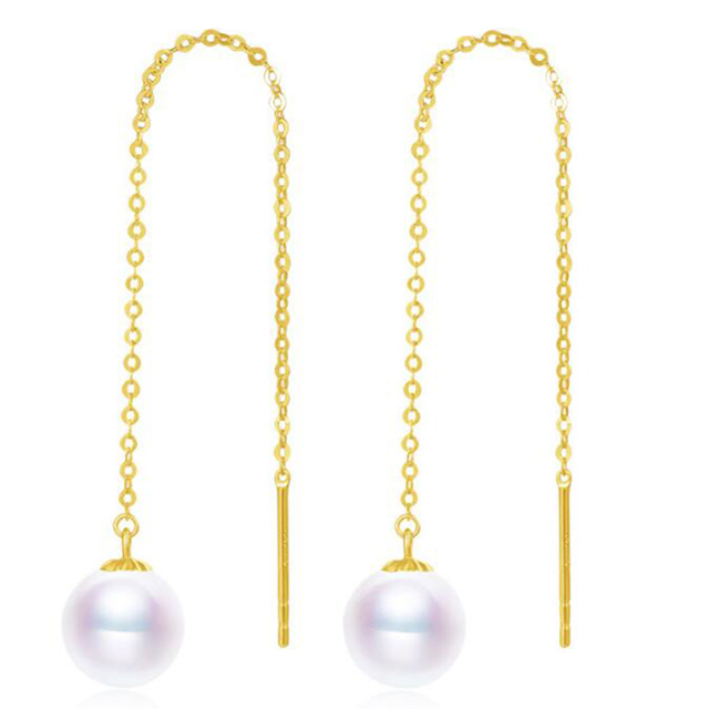 Sinya Au750 18k gold dangle drop earring with 7-9 mm Natural Round high luster pearls long chain tassel design earring for women