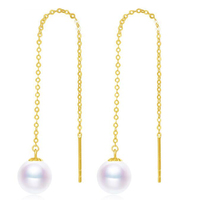 Sinya Au750 18k gold dangle drop earring with 7 9 mm Natural Round high luster pearls long chain tassel design earring for women