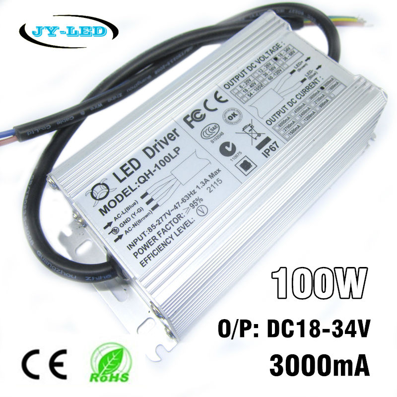 100W LED Driver 3000mA DC18-34v Power Supply IP67 Waterproof Constant Current FloodLight Driver For High Power LED Beads 70w led driver dc54v 1 5a high power led driver for flood light street light constant current drive power supply ip65