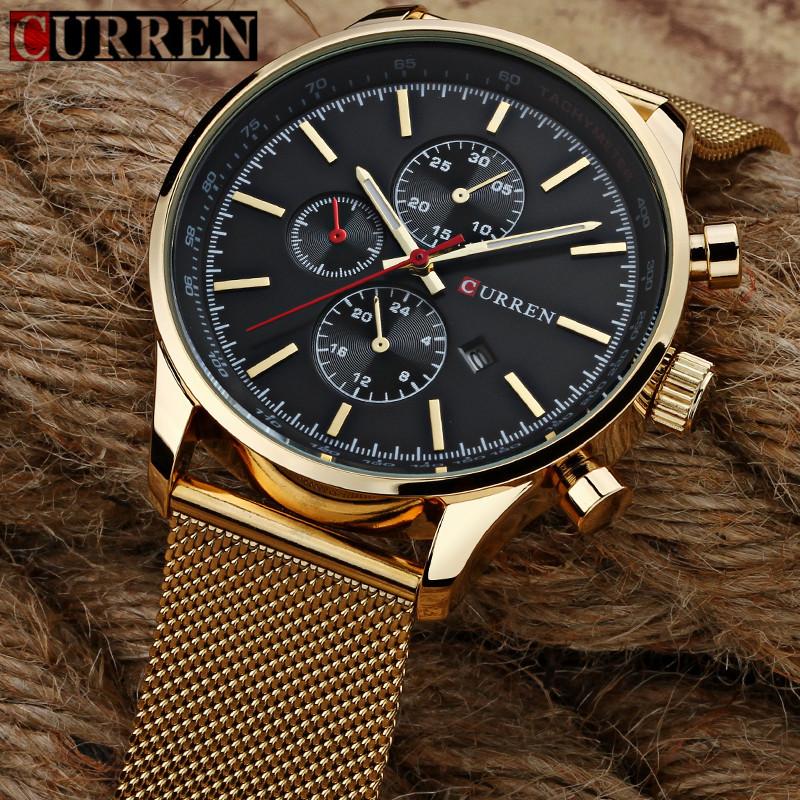Prix pour CURREN Hommes Montres Top Marque De Luxe Or Noir Montre À Quartz Hommes De Mode Étanche En Acier Inoxydable Sport Horloge Homme Montre-Bracelet