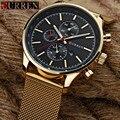 Curren mens relógios top marca de luxo de ouro relógio de quartzo preto homens da moda à prova d' água relógio masculino relógio de pulso do esporte do aço inoxidável
