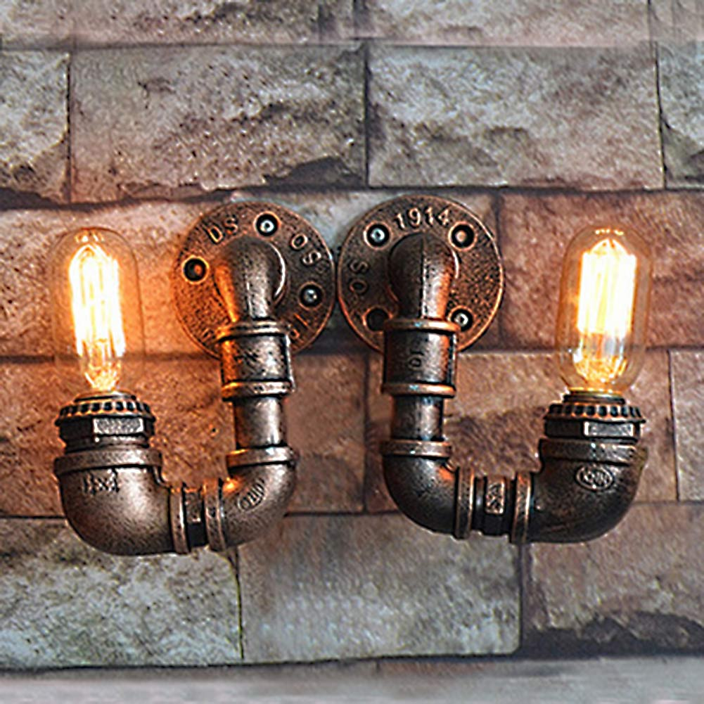 2PCS Loft Wrought Iron Water Pipe Wall Lamps Single head Vintage Industrial Wall Lights Restaurant Bar Sconces Light Fixtures american country style iron loft single head pendant lights vintage industrial wrought metal lamps light for restaurant bar