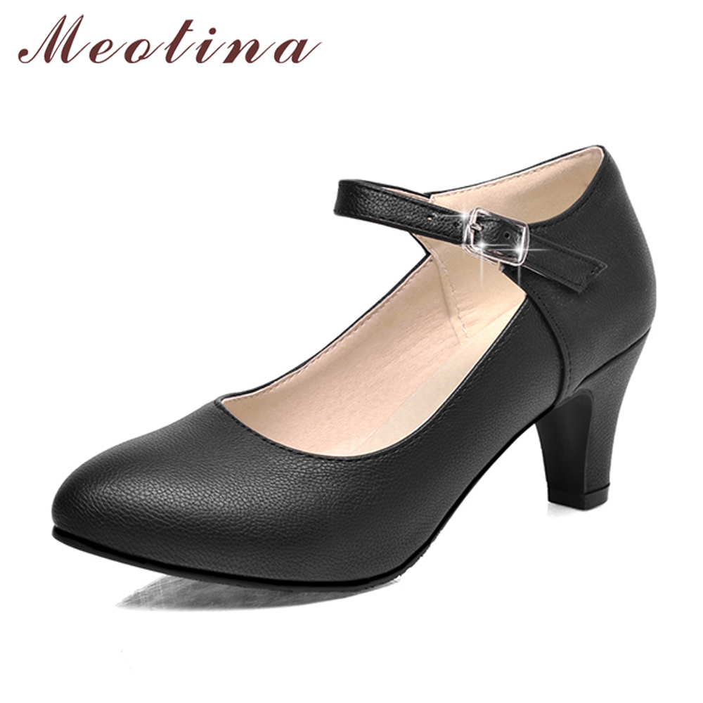 Meotina Shoes Women High Heels Ladies Pumps Big Size 34-42 Spring Pointed Toe Mary Jane Career Chunky High Heel Black Lady Shoes цена