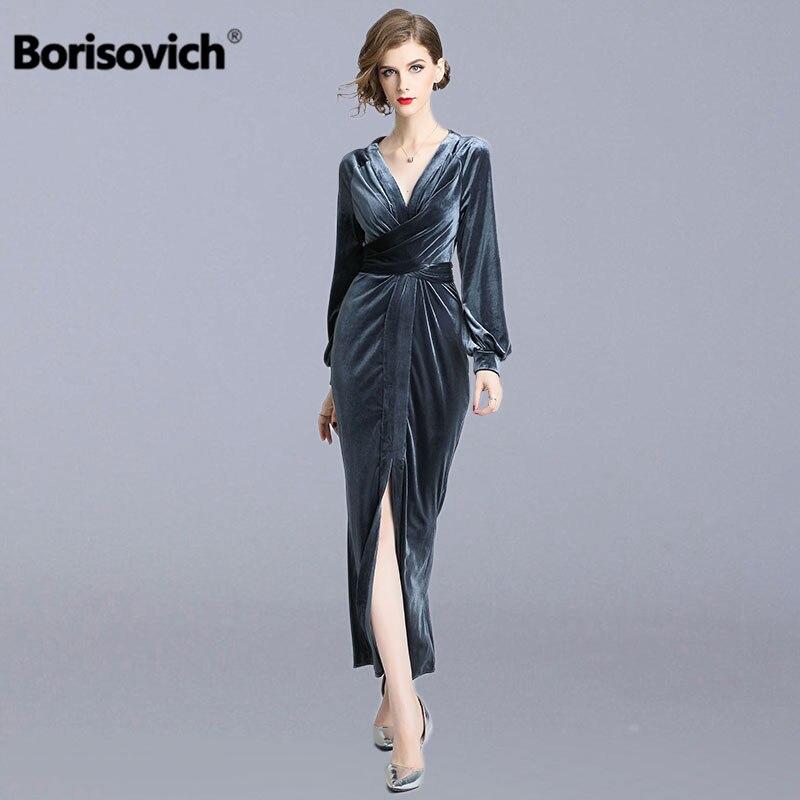 Borisovich Ladies Evening Party Dresses New 2018 Autumn Fashion England Style V neck Elegant Slim Women
