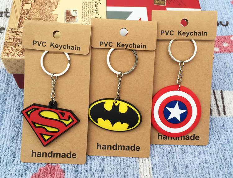 Lvyye 1 Uds Superman Batman Logo llavero animé PVC figura llavero juguetes lindos llavero cumpleaños Regalos Unisex nuevo