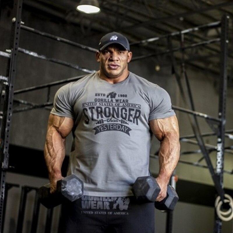 Men Short Sleeve Fitness T Shirt Bodybuilding Workout Elasticity Fitness Gym Mens Running T-Shirts