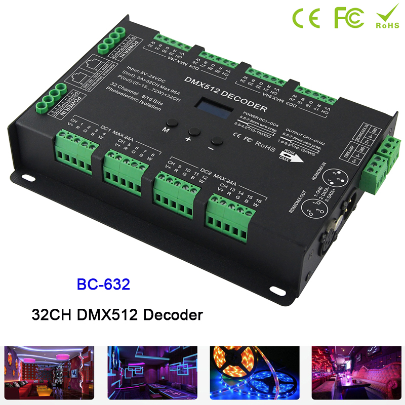 BC-632 32CH led Constant Voltage DMX-PWM Decoder DC5V-24V DIM/CT/RGB /RGBW 4 modes switch led Strip driver Controller недорго, оригинальная цена