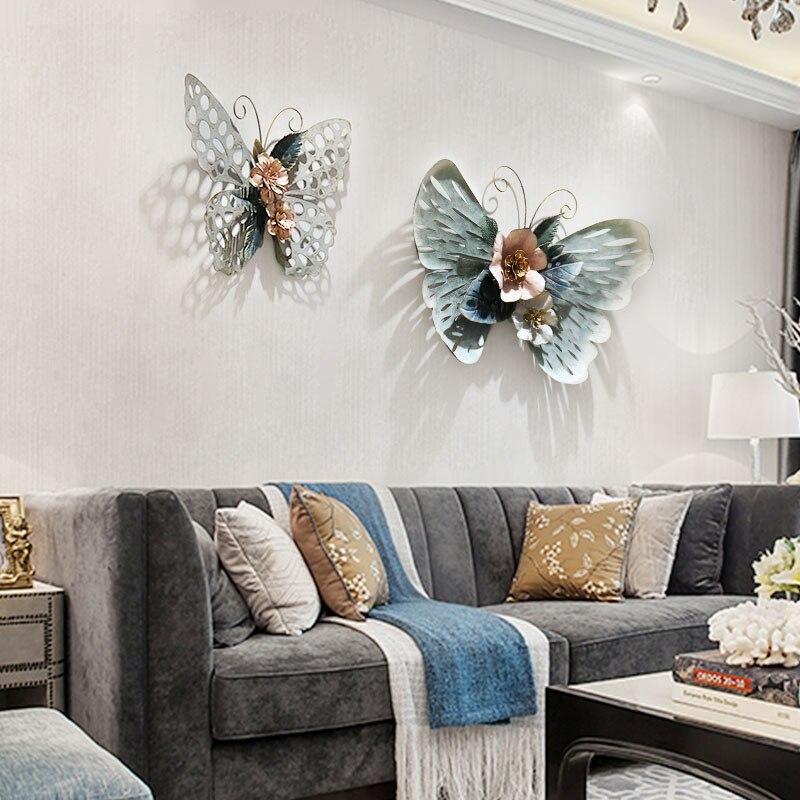 Европейский стиль 3D стерео Кованое железо бабочка настенные декоративные гостиной настенные подвесные фрески домашние ремесла художественное украшение R1270