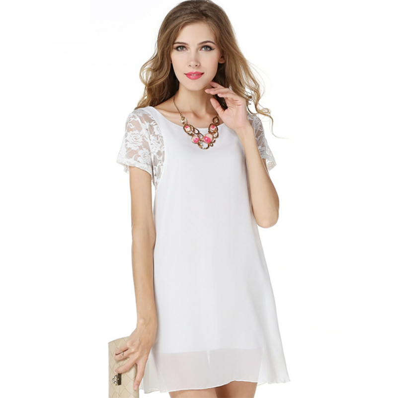 Style Sundresses Sleeve Solid o neck Mini Chiffon Summer 2019 Casual Women dresses short sleeve Lace White female Fashion Dress