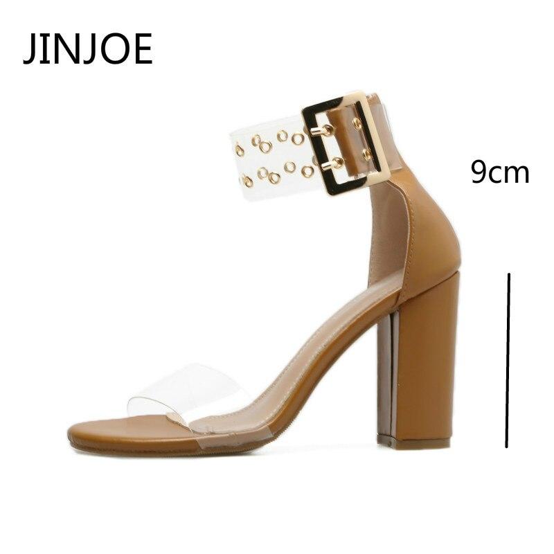 d7920b67 Roma De Cremallera Talón Altos Transparentes Gruesa Negro Estilo Tacones  Sandalias Mujer Zapatos Madera Alto Con ...