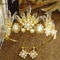 Fashion Handmade Bridal Hair Accessories Bride Crown Gold Tiara Luxury Pearls Rhinestones Baroque Haar Sieraden SQ083