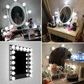 Светодиодный светильник с зеркалом для макияжа, USB, 12 В, светодиодный светильник для туалетного столика Голливуда, бесступенчатая лампа с регулируемой яркостью, 2, 6, 10, 14 лампочек, светодиодный настенный светильник - фото