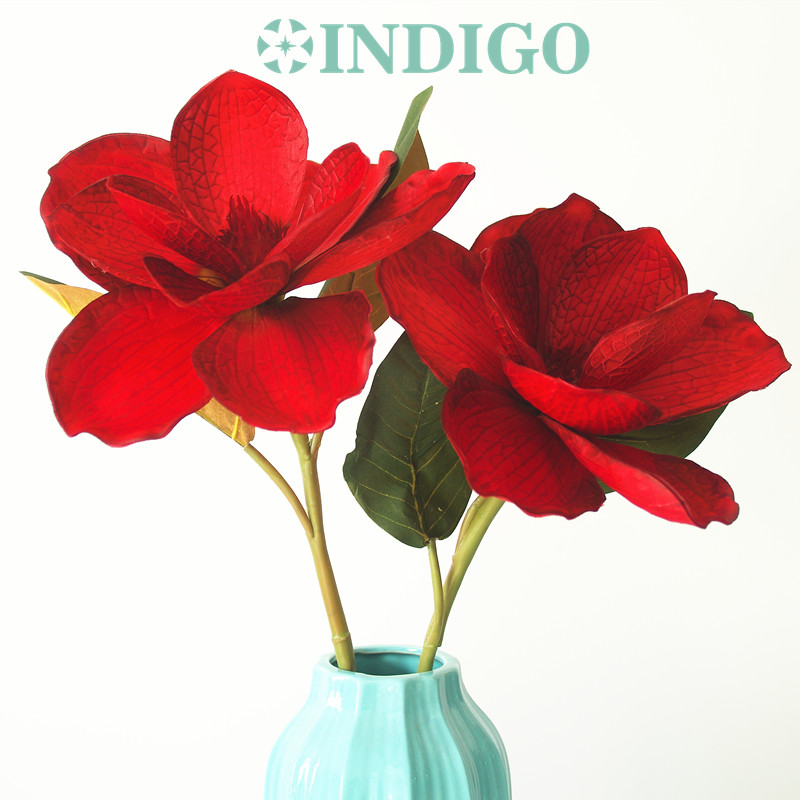 Christmas Red Magnolia Orchid New Big Silk Decorative