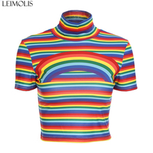 LEIMOLIS Rainbow Striped retro casual t shirt women summer harajuku kawaii crop top punk rock gothic sexy streetwear tops