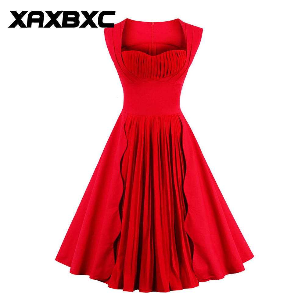 XAXBXC 2017 Summer Retro Vestido Red Folded layered Boat neck Vintage 1950s Swing A-line Women Dress Evening Party Plus Size