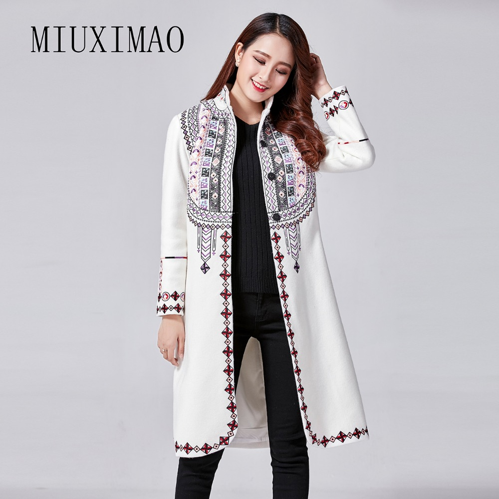 2017 Autumn & Winter New Arrival Best Quality Mandarin Collar Single Breasted Full Sleeve Embroidery Print Warm Long Coat Women