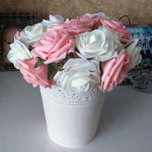 10 голов 8 см Красивые очаровательные Искусственные цветы ПЭ Пена розы цветы невесты Свадебный букет Декор Скрапбукинг DIY принадлежности