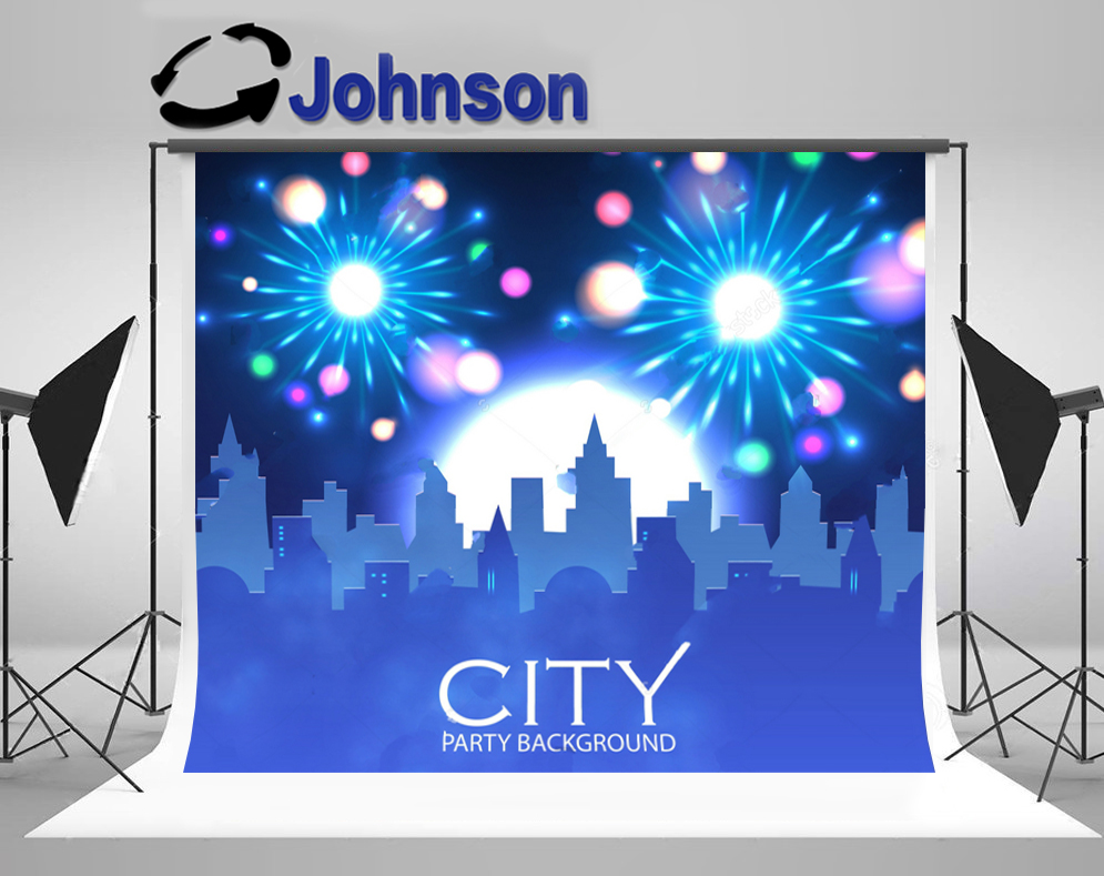 las vegas party City Skyline Spotlights Fireworks Background Vinyl cloth High quality Computer print wall backdrop