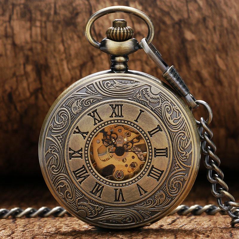 Bronze Golden Hollow Roman/Arabic Numerals Men Pocket Watch Hind Wind Mechanical With Necklace Chain Steampunk Relogio