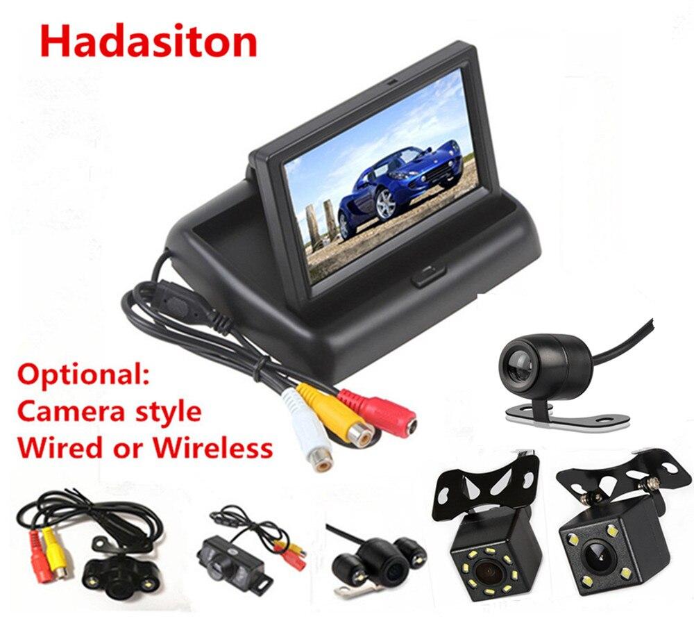 4.3 дюймов TFT ЖК-дисплей экран автомобиля Мониторы заднего вида обратной парковочная Мониторы с 2 канала видео Вход, камера дополнительно