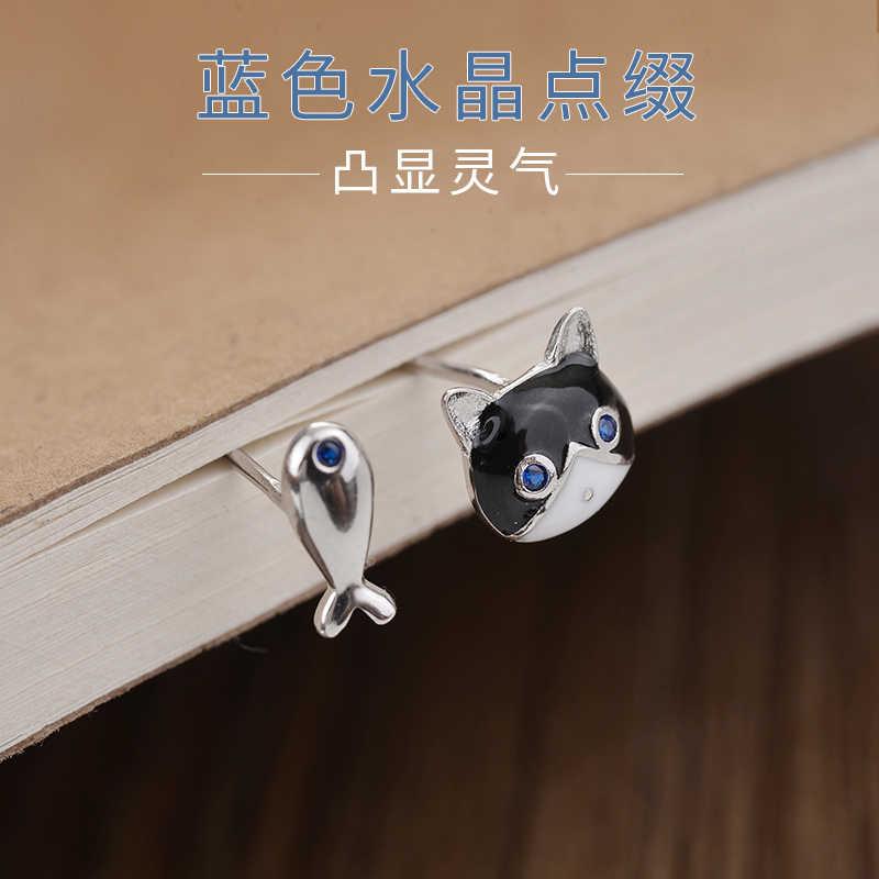 DreamySky Настоящее серебро 925 проба эффектные сережки кошки для женщин женские модные серьги для девочек ювелирные изделия для ушей Bijoux Brincos