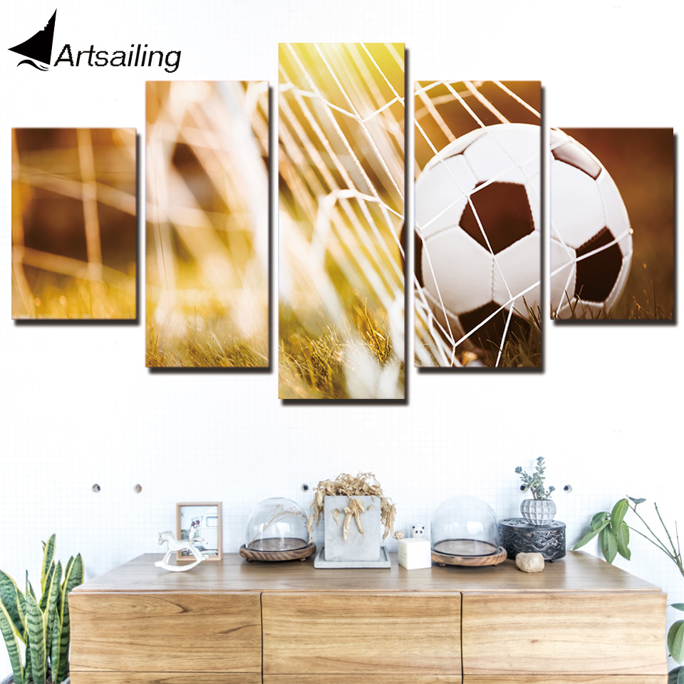 HD Printed 5 Piece Canvas Art Soccer Match Net Painting Wall Pictures for Living Room Modern Free Shipping CU-2996C