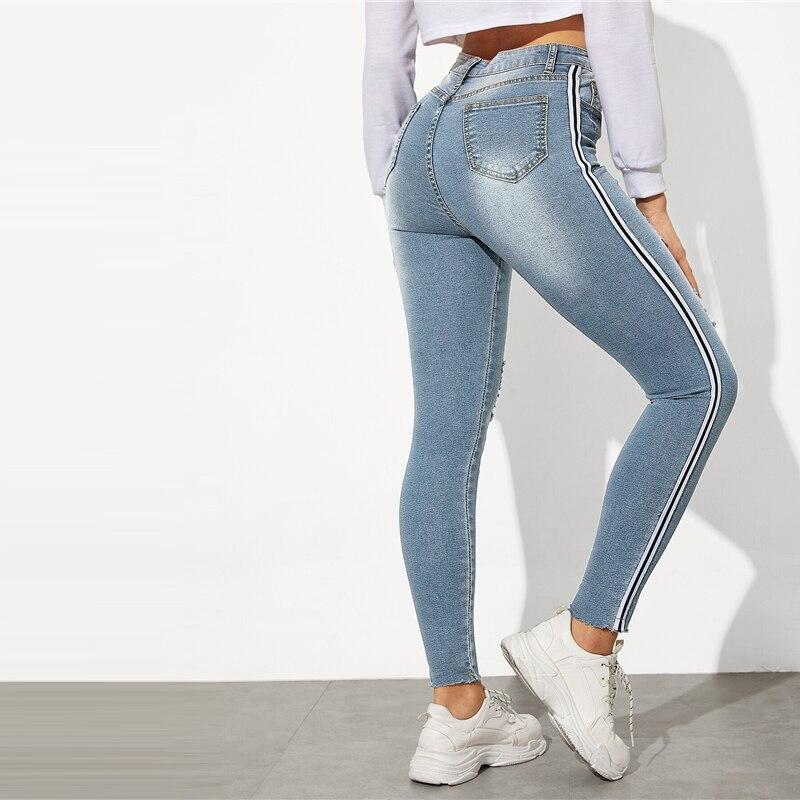 SweatyRocks Stripe Side Ripped Skinny Jeans Leisure Stretchy Long Denim Pants 19 Spring Women Streetwear Casual Blue Jeans 22