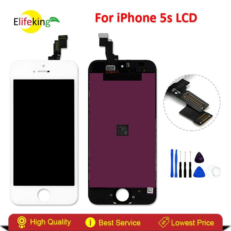 imágenes para Elifeking 100% Buena Calidad 5S Pantalla Táctil + Pantalla LCD Para el iphone Asamblea Del Reemplazo Digitalizador Blanco + Herramientas