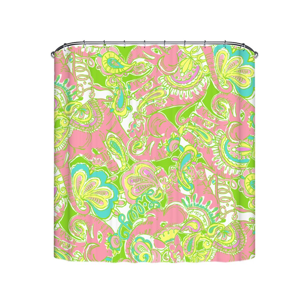 Artistic Pink Elephant Printed Washable and Waterproof Fabric Shower Curtain Eco-Friendly & Environment Material Shower Curtain