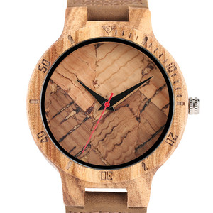 Image 3 - עץ שעון גברים של ייחודי פקק סיגים/שבור עלים פנים חיוג שעון עץ קוורץ שעון זכר נשים אמיתי עור להקת שעוני יד