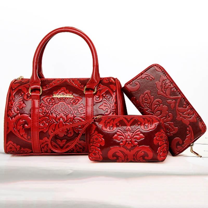 6 pieces / set of fashion women's composite bag PU leather printing ladies handbag shoulder bag wallet wallet key bag set SM1119-in Shoulder Bags from Luggage & Bags    2