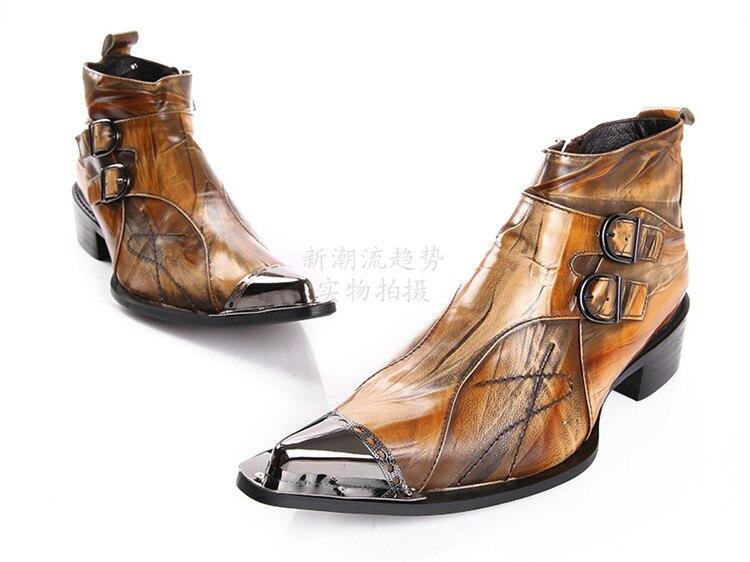 46 Botas Cuero Punta De Botin Metal Mens Caliente Show Hombre Oxfords Martin Estrecha Zapatos Completo Masculinos Sapatos Bajos Tamaño As Tacones Grano r0wUq0dxI