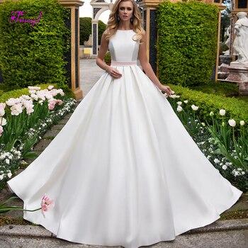 4d5254123 Sexy espalda descubierta lazo cuello redondo A-Line vestidos de boda 2019  elegantes fajas satén corte tren princesa Vestido de novia Vestido de Noiva