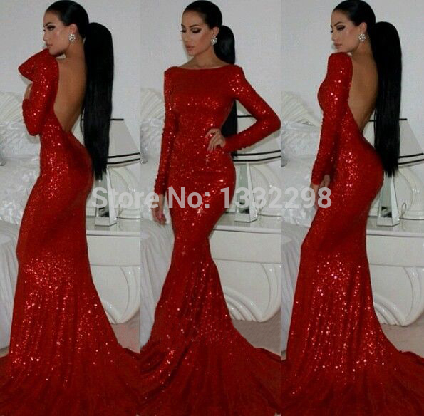 Online Shop Sparkly Prom dresses 2015 Backless Mermaid Sheath Long ...
