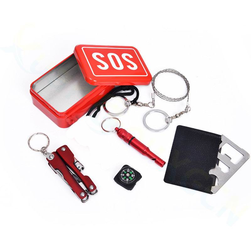 10set Outdoor Emergency SOS Kit First Aid Box Field Self-help Camping Hiking Equipment Travel Survival Gear Tool whistle Kits