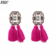 16 Colors ! In Fashion Crystal Square Tassel Stud Earrings F