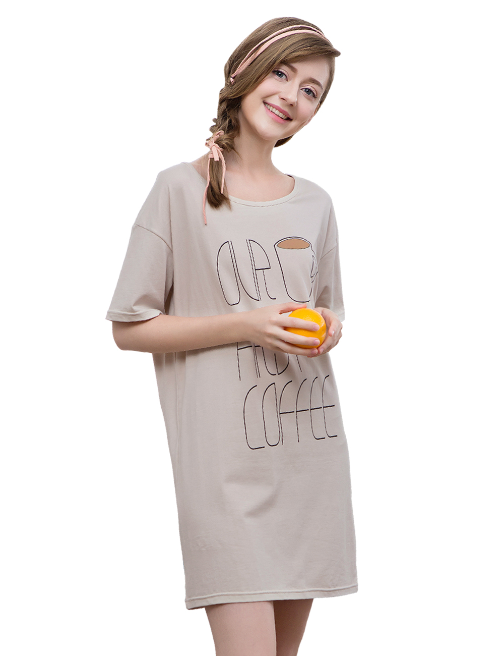 Women Nightgowns Summer Sleepwear Casual Night Dresses Plus Short Sleeve Letter Print Loose Nightdress Home Clothes 1763A