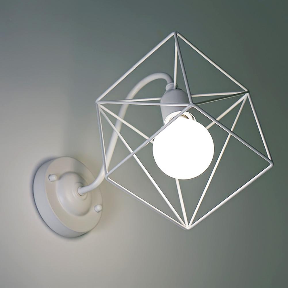 Mode carré structure alliage cage mur lampe moderne loft e27 wall light applique lampe accueil lumières